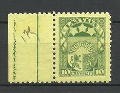 LETTLAND Latvia 1932 Michel 174 Bogenrand WZ 5 Z !!! Perf 10 MNH - Lettonia