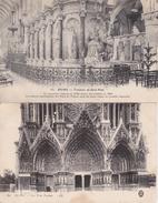 Lot 2 CPA (51) REIMS.  Tombeau De Saint-Rémi + Les Trois Porches....D39 - Reims
