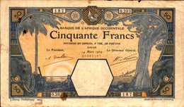 BANQUE AFRIQUE OCCIDENTALE  50 FRANCS Du 14-03-1929  Pick 9Bc - West African States
