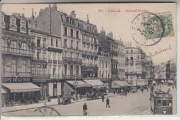 59 - LILLE - La Grand´Place Animée - Tramways - Tampon Gadz'arts Lap's Au Dos - Lille