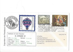 15901 - Christkindl  Cover Pro Juventute Und Des Pestalozzi 32. Weihnachts Ballonpost 6.12.1992 Pour Unterägeri Suisse - Noël