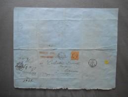 TIMBRE NAPOLEON III 40 C 1412 CACHET SILLE LE GUILLAUME 5 AOUT 68 MAYENNE 6 AOUT 68 SUR FACTURE CHAIGNON DU 5 AOUT 1868 - Marcophilie (Lettres)