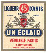 étiquette Pub Liqueur D'Anis, Pastis Un éclair ( Justamond, Bagnols Sur Cèze ) - Etiquettes