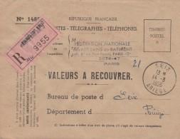 Lettre Recommandée Valeurs à Recouvrer EMA PARIS XIII Annexe 3 14/3/1956 Pour SEIX Ariège - France