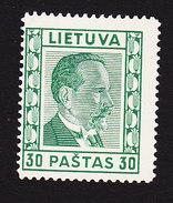 Lithuania, Scott #299, Mint Hinged, Pres Smetona, Issued 1936 - Lithuania