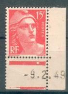 France - 1949 - Angle Daté 9/2/49 - Type : Marianne De Gandon 15 F. Rouge - Y&T N°813 ** Neuf Luxe ( 1er Choix ). - 1945-54 Marianne (Gandon)