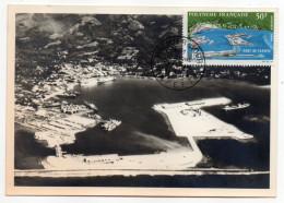 """Polynésie Française-1968--Carte Maximun """"Port De Papeete"""" (Vue Aérienne) Numéroté N°0152 -- Lim 1.000ex - Cartes-maximum"""