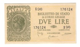 LUOGOTENENZA 2 LIRE 1944 Splsup LOTTO 1422 - Italia – 2 Lire