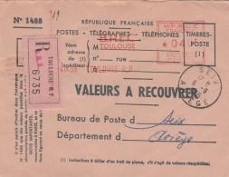 Lettre Recommandée Valeurs à Recouvrer EMA MG 0115 BREC TOULOUSE 6/9/1956 Pour SEIX Ariège - France
