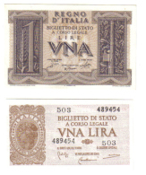 1+1 LIRA 1939-1944 FDS   LOTTO 1420 - [ 1] …-1946 : Kingdom