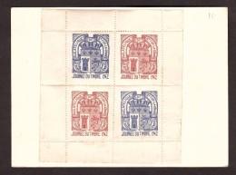 France - 1942 - CP Journée Du Timbre - Restons Groupés - Oeuvre De L'air - Bloc De 4 Vignettes Ste Foy La Grande - Briefe U. Dokumente
