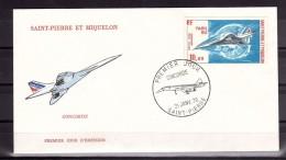 Concorde - 1976 - Enveloppe Premier Jour - Saint Pierre Et Miquelon - PA N° 62 - Paris-Rio - Concorde