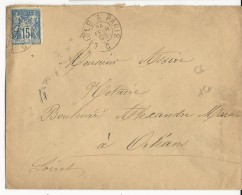 1898 - ORNE - AMBULANT De JOUR L'AIGLE à PARIS - ENVELOPPE Pour ORLEANS - Marcophilie (Lettres)