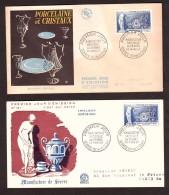 France - 1957 - Deux Enveloppes Premier Jour - Manufacture Nationale De Sèvres - Porcelaine Et Cristaux - Storia Postale