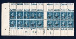 France - 1926 - Bas De Feuille N° 217-C2 Pour La Confection De Carnet - GIBBS - Neuf ** - Numéro - Croix De Repère - TB - Carnets