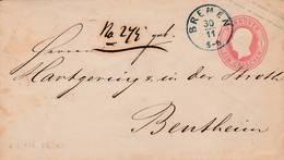 Entier Postal  1 Gr Rose De Bremen Pour Bentheim - Scan Recto-verso - Stamped Stationery