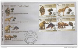 Nepal (2013) - FDC -  /  Fossils - Extinct - Monkey - Elephant - Giraffe - Hippopotamus - Dinosaurs - Prehistory - Prehistorisch