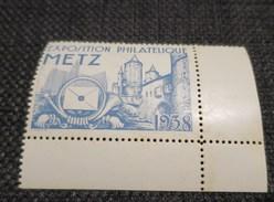 EXPOSITION PHILATELIQUE DE METZ 1938 Vignette Bleu - Erinnophilie