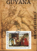 Guyana (Guyane) 1989 Christmas, Religious Painting By Rubens And Tiziano Painters Used Cancelled Block, M/S (U-39)