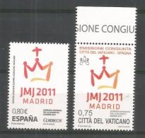 ESPAÑA VATICANO EMISION CONJUNTA JORNADA MUNDIAL DE LA JUVENTUD EN MADRID - Emisiones Comunes