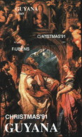 Guyana (Guyane) 1991 Christmas, Rubens Religious Painting Used Cancelled Block, M/S (U-40)