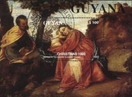 Guyana (Guyane) 1993 Christmas, Tiziano Religious Painting Used Cancelled Block, M/S (U-40)