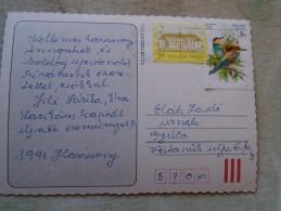 D144493 HUNGARY- Postcard  -stamp  Merops Apiaster - 1990