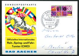 """Germany 1969 Sonderpostkarte Springreiten Mit Mi.Nr.553 U.SST""""Aachen-33.offiz.Springturnier,Horses,Pferdesport""""1 Beleg"""