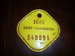 CB10 Fietsplaat Plaque Immatriculation Vélo  Oost Vlaanderen 1981 549091 - Plaques D'immatriculation