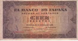 BILLETE DE ESPAÑA DE 100 PTAS 20/05/1938 SERIE A  EN CALIDAD MBC (BANK NOTE) - 100 Pesetas