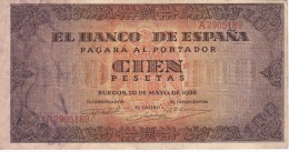 BILLETE DE ESPAÑA DE 100 PTAS 20/05/1938 SERIE A  EN CALIDAD MBC (BANK NOTE) - [ 3] 1936-1975 : Régimen De Franco