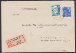 DDR 60 Pfg Fünfjahrplan Stapellauf Hochseeschiff (MiNr. 377 In MiF Mit 16 Pf. Köpfe II, Orts-R-Bf Leipzig - [6] República Democrática