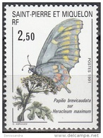 Saint-Pierre Et Miquelon 1991 Yvert 534 Neuf ** Cote (2015) 1.40 Euro Papillon - Neufs