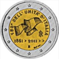 Italie 2011     2 Euro Commemo    150 Eenwording Italie   UNC Uit De Rol  UNC Du Rouleaux  !! - Italie