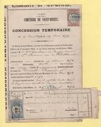 Timbre Fiscal - Concession Temporaie - Cimetiere De Saint Brieuc - 1874 - Marcophilie (Lettres)