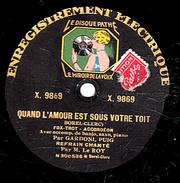 78 T. - 25 Cm - état  B -  Fredo GARDONI Marcel PUIG  Refrain LE ROY - QUAND L'AMOUR EST SOUS VOTRE TOIT - ADIOS MUCHACH - 78 T - Disques Pour Gramophone