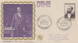 Enveloppe  FDC  1er  Jour   SADI  CARNOT   LIMOGES   1954 - FDC