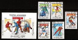 1988 Afghanistan Olympic Games Hockey, Skiing, Figure Skating ,1988 Calgary  Full Stamp Set + S/S Block Used - Afghanistan