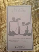 Cartes Parfumée  LA VIE EST BELLE De LANCOME - Modern (from 1961)
