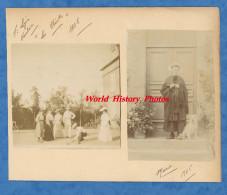 """2 Photos Anciennes - SAINT LEGER VAUBAN ( Yonne ) - """" Les Chenots """" - 1905 - Jeune Fille Avec Coiffe & Chien - Folklore - Lieux"""