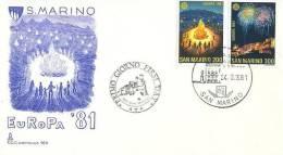 SAN MARINO  1981 EUROPA CEPT   SET FDC - 1981