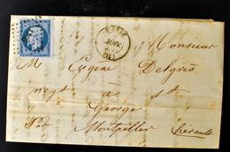 Lettre - Napoleon N°14 BORD DE FEUILLE - GIGNAC - PC 1395 - (B42-L1) - 1849-1876: Période Classique