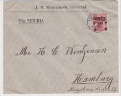 DR China 1914 (?) Brief Portogerecht Frankiert (4 Cents) Von Schanghai 28. 2. 14 (?) Nach Hamburg - Offices: China