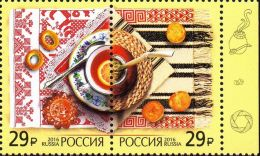 Russia, 2016, Mi. 2383-84, Sc. 7784, Joint Issue With Argentina, National Cuisine, MNH - Unused Stamps
