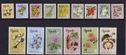 Uganda (Sc # 115-29 )VLH, (Complete Set Of 15)  FLOWERS  (1969) - Uganda (1962-...)