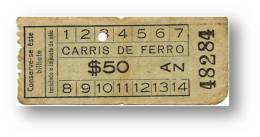 Carris De Ferro - $50 - Tramway Ticket - Serie AZ - RADAR 48284 CAPICUA - Lisboa Portugal - Tranvías