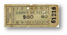 Carris De Ferro - $50 - Inspector's Chopping - Tramway Ticket - Serie BC - RADAR 61216 CAPICUA - Lisboa Portugal - Tranvías
