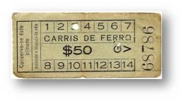 Carris De Ferro - $50 - Inspector's Chopping - Tramway Ticket - Serie GV - RADAR 68786 CAPICUA - Lisboa Portugal - Tranvías