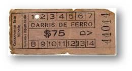 Carris De Ferro - $75 - Tramway Ticket - Serie DV - RADAR 44044 CAPICUA - Lisboa Portugal - Tranvías