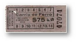 Carris De Ferro - $75 - Tramway Ticket - Serie FS - RADAR 47074 CAPICUA - Lisboa Portugal - Tranvías